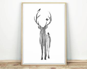 Deer Wall Art - Printable Poster, Deer Print Decor, Modern Wall Art, Silhouette Wall Art, Animal Print, Black White Print, Deer Poster Print
