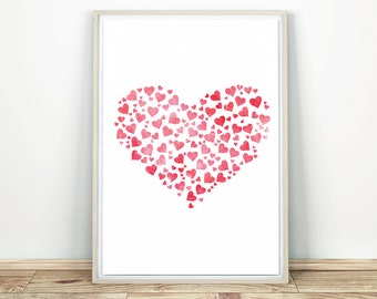 Red Heart - Printable Wall Art, Love Heart, Gift For Her, Printable Heart, Minimalist Poster, Heart Print, Printable Poster, Heart Gift