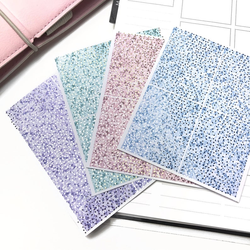 Blue color Bow headers Foiled washi Date covers Foiled multicolor functional planner stickers