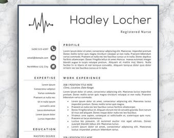 Nursing Resume Etsy Professional Nurse Template