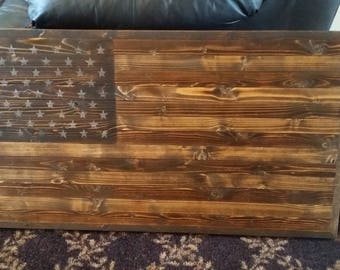 Rustic Wooden American Flag Distressed Pallet Antique Wall Art Pine Dark Stain Only Satin Flat Matte Finish