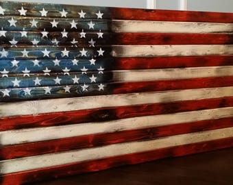 Rustic American Flag Pallet High Gloss Wooden Distressed Antique Wall Art Scorched2