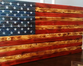 Wooden Rustic American Flag Distressed Pallet Antique Wall Art Natural Scorched High Gloss In Rough Cut Whitewood
