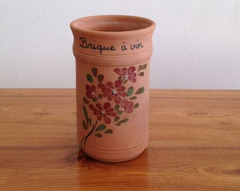 French / craft Vallauris wine or Champagne/brick / hand painted