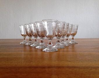 9 shot glasses - Crystal - vintage
