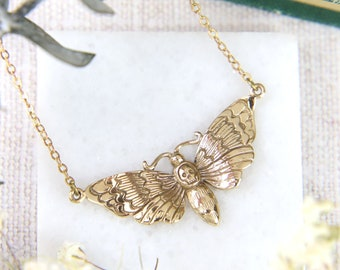 Death Moth Necklace, Deaths Head Hawk Moth, Gold Colour, Bronze Pendant, Insect Jewellery, Nature lover Gift, Gift For Her, Women Gift Ideas