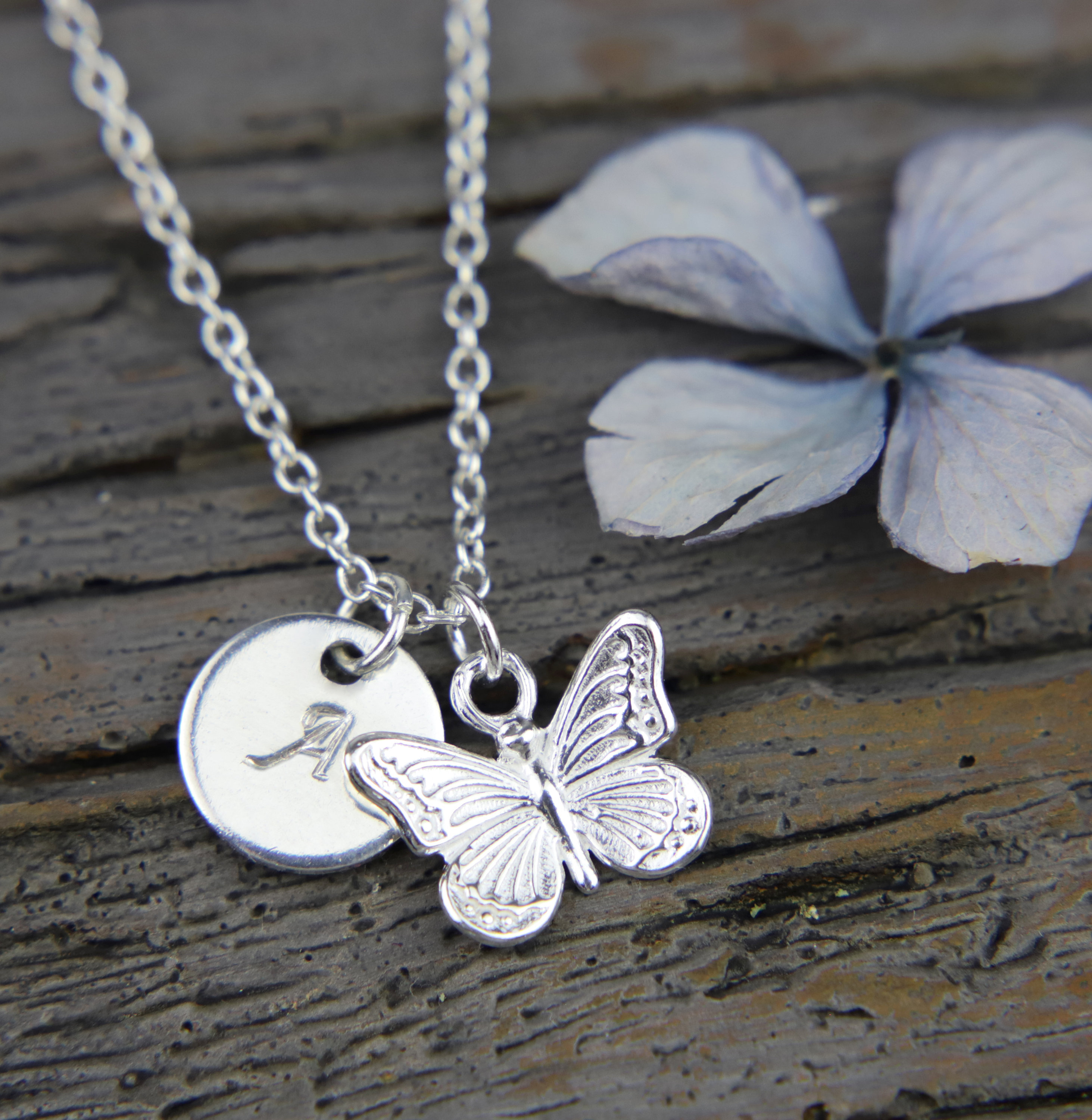 Personalised Butterfly Necklace, Silver Pendant, Tiny Butterfly, Initial  Necklace, Monogram Pendant,Simple Butterfly,Gift for Girls,Mum Gift