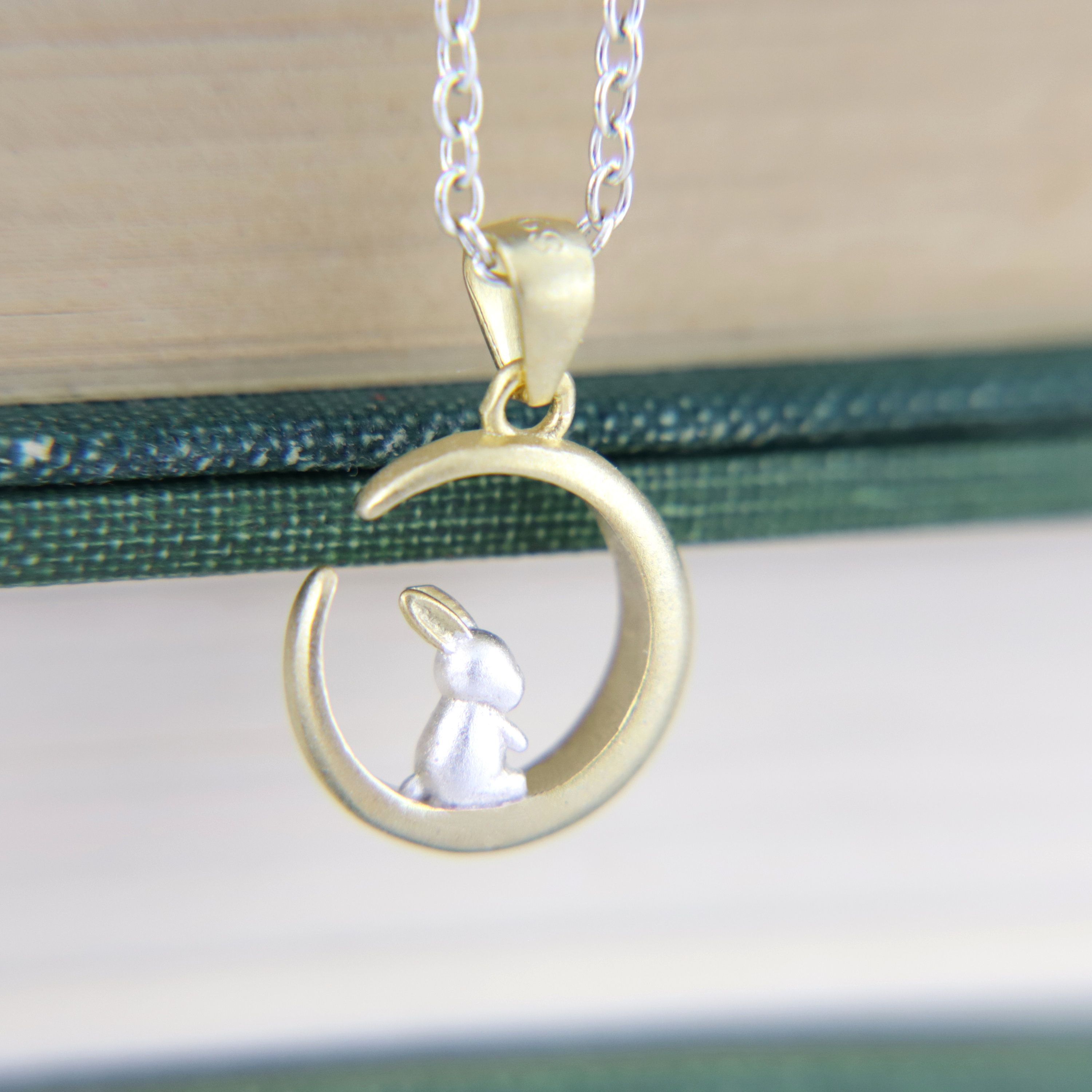 Bunny Moon Necklace, Rabbit Pendant, Two Tone, Chinese Folklore, Hare Moon,  Woodland Animal Jewellery, Easter, Japan Autumn, Gift for Her