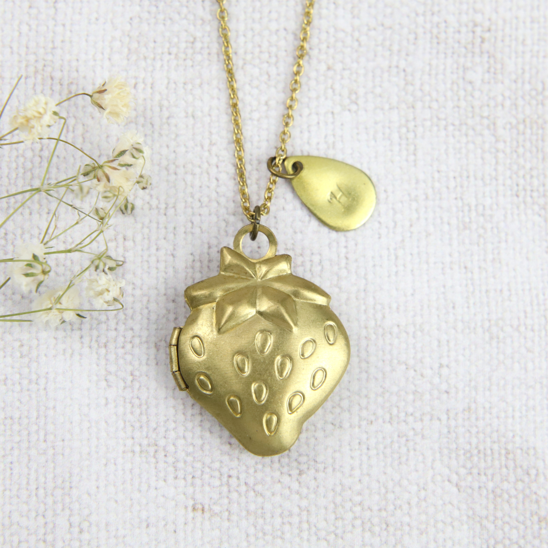 Strawberry Locket, Personalised Locket Necklace, Keepsake Necklace, Golden  Strawberry, Fruit Jewellery, Summer Necklace, Initial Gift