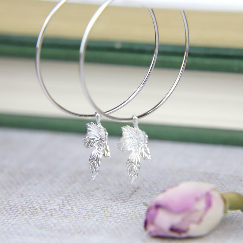 Large Hoop Earrings Silver Leaf Earrings Fall Jewelry Autumn Jewellery Mum Gift for Her Maple Leaf Hoop Earrings Girlfriend Jewelry