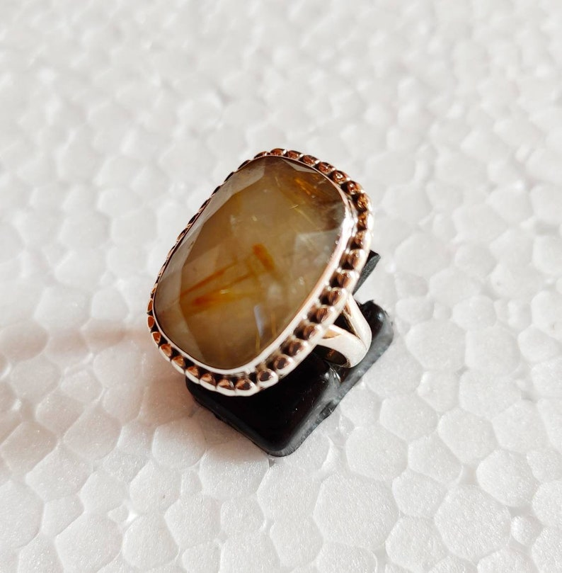 Awesome natural golden routile quartz faceted stone 925 sterling silver ring