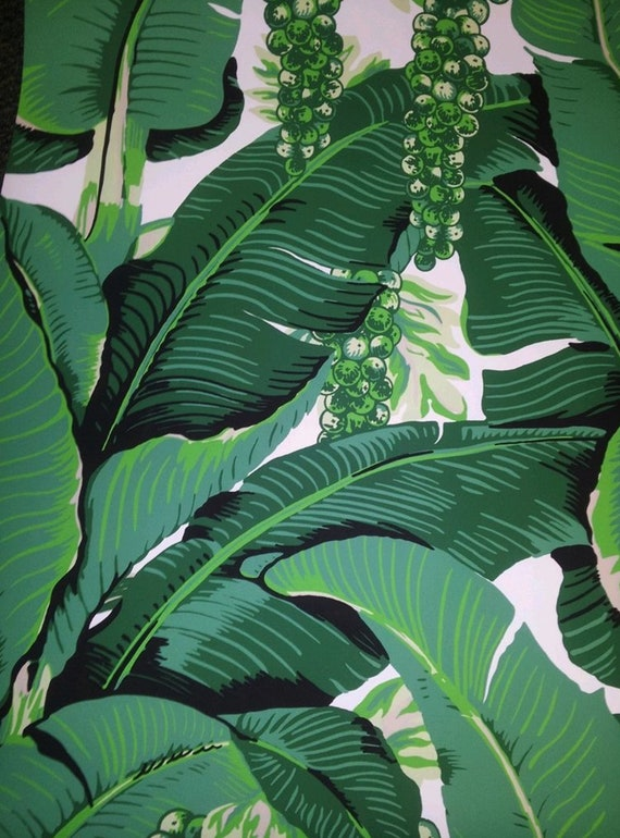 Dorothy Draper Brazilliance Banana Leaves Wallpaper Authentic Design Tropical Leaves Vine Grapes Print Priced Per Roll