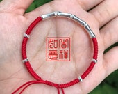 Luck Bamboo Handmade Sterling Silver Lucky Red String Bracelet Adjustable Asian Style Bamboo Bangle bead style silver red rope charm
