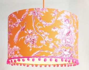 "Lampshade ""Toile De Jouy"" orange / pink, 40 cm diameter,"