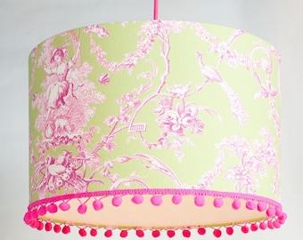 "Lampshade ""Toile De Jouy"" light green / pink, 40 cm diameter,"