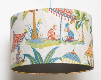 """Lampshade """"Monkeys with umbrella and palm"""" diameter 40 cm"""