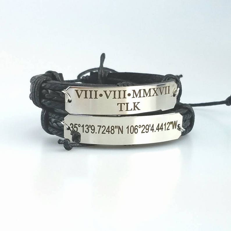 c90cf8f1a7d89 Personalized Leather Bracelet for Men Engraved Bracelet