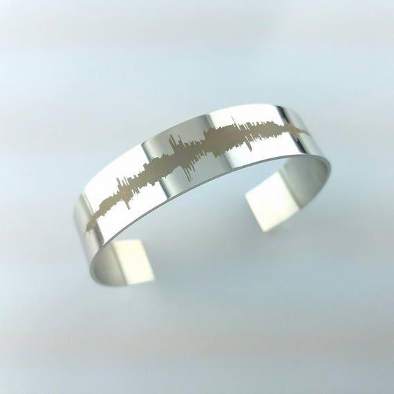 Gift for Her Anniversary Gift Custom Sound Wave Laser Engraved Bracelet Stainless Steel Bracelet