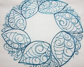 Spring Leaf Wreath - Machine Embroidery Design