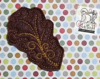 Oak Leaf Feltie - Machine Embroidery Design. 4x4 hoop Instant Download. Felties. Fall Feltie. Leaf Feltie. Nature Feltie. Thanksgiving