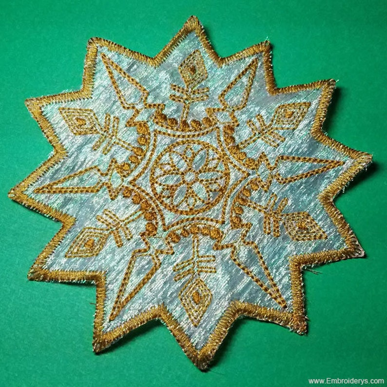 Stand Alone Embroidery Designs : Organza snowflake in the hoop machine embroidery design etsy