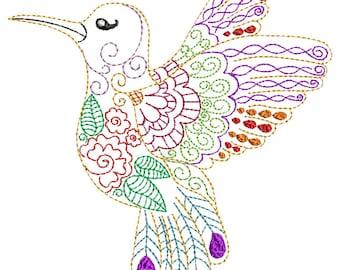 Whimsical Hummingbird - Machine Embroidery Design