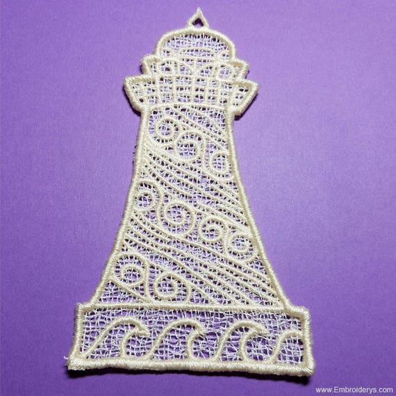 Lighthouse Free Standing Lace Machine Embroidery Design Etsy