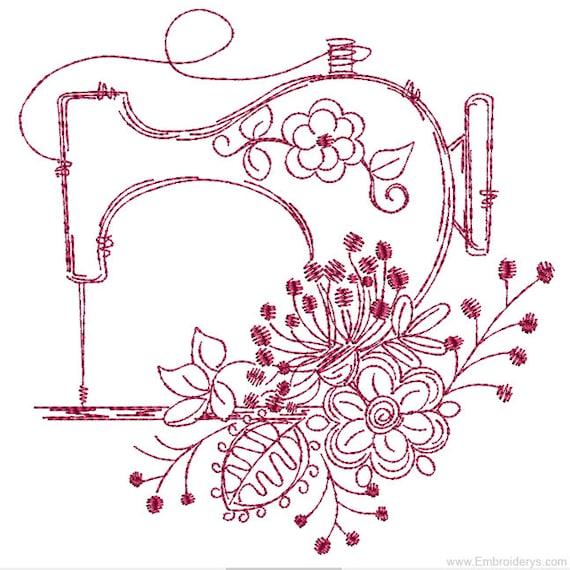 Vintage Sewing Machine Redwork Machine Embroidery Design Etsy