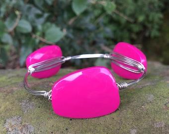 wire wrapped Fushia pink bracelet