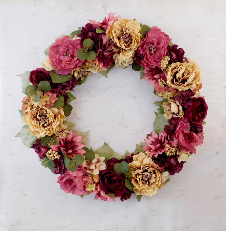 Spring Wreath For Front Door Floral Wreath Pink Spring Etsy