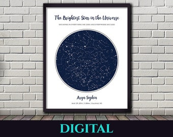 Star Map Night Sky V2 Christmas Gift Birthday Wedding Anniversary First Date Baptism Constellations