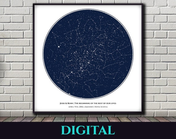 Birthday Star Map.Star Map Night Sky Square Valentines Gift Birthday Etsy