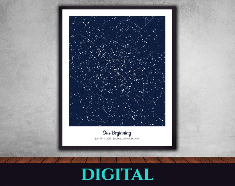 Anniversary Wedding Birthday Night Sky Constellations First Date Christmas Baptism Star Map Full Rectangle Father/'s Day