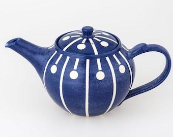 Handmade Art Deco Inspired Spot and Stripe Teapot