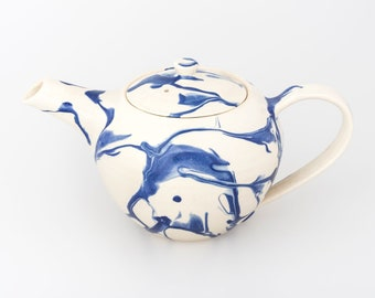 Handmade Ceramic Marbled Teapot