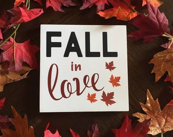 Fall in love wood sign, Hand painted Fall sign, Fall sign, Fall decor, Autumn sign, Fall home decor, Rustic Fall sign, Love, Wedding gift