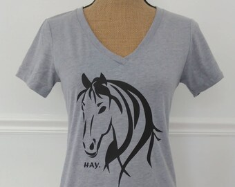 Horse Hay™ Graphic Tee, V-Neck Tee,Women's T-Shirt,Shirts for Women,Horse T-Shirt,Funny T-Shirt,Fun Shirts,Grey T-Shirt,T-Shirt for Teens,Hi