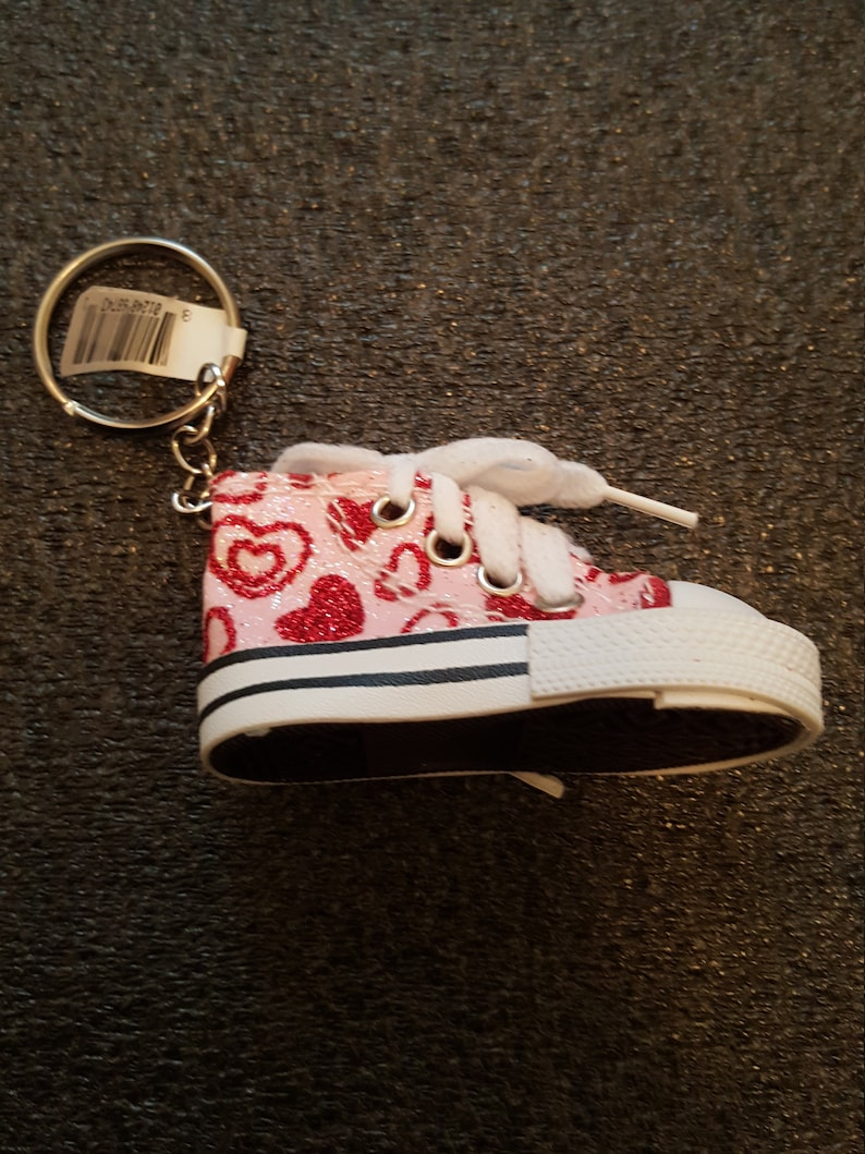 017e0de9e6def Canvas Mini Glitter Hi Top Sneaker Tennis Shoe Key Chain Multi-color  optional 6 styles