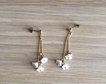 CHERIE earrings/triple flower long drop earrings with fresh  water  pearl/cubic zirconia/titanium stud