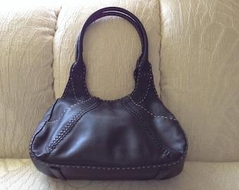 Vintage Black Leather Hobo Style Shoulder Bag By August Max