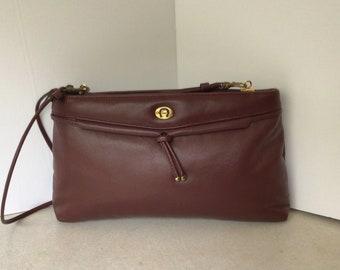 Etienne Aigner Vintage Leather Shoulder Bag In Burgundy