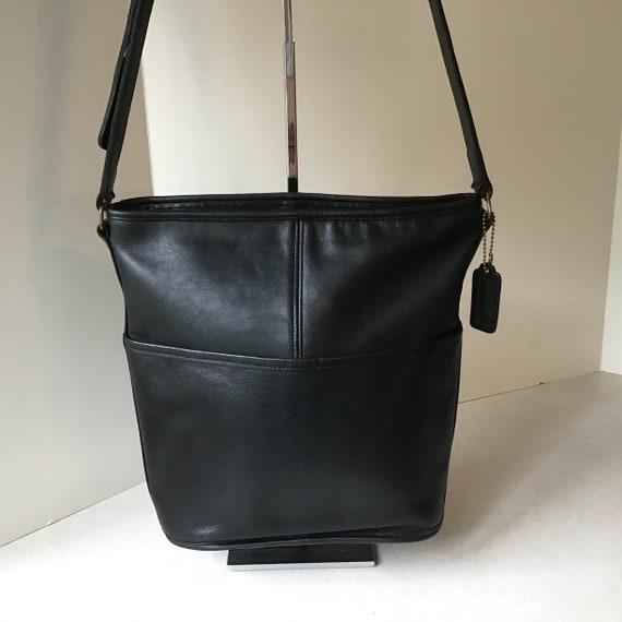 Coach Vintage USA Black Leather Bucket Bag