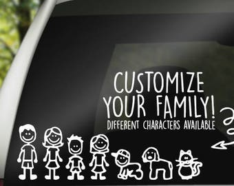 Custom Family Car Decal - Stick Figure Family Decal - Custom Family Decal - Car Decal for Family - Family Decal - Car Decals - Laptop Decals