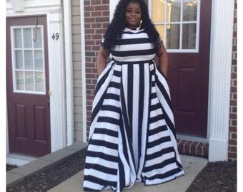 7308e00ab7 Womens Black   White Stripe Maxi Dress (Plus Size Fashion)
