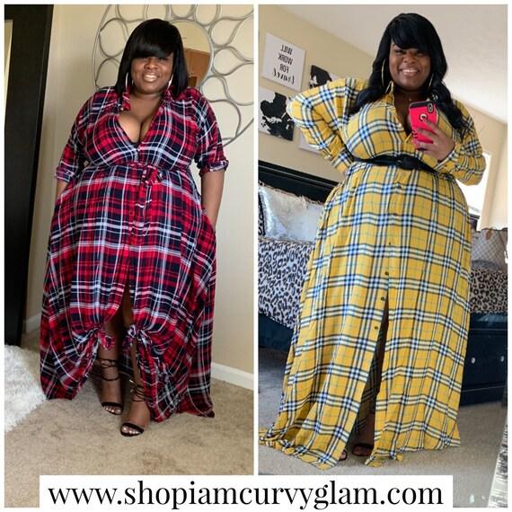 Plus-size Plaid Multi Use Shirt Dress