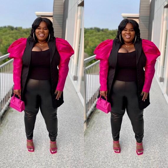 Puff Sleeve Pink & Black Blazer