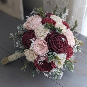 Bridal Bridesmaid Toss Wine and Blush Sola Wood Flower Bouquet with Babys Breath and Greenery