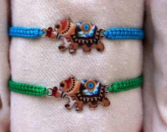 Macrame elephant charm bracelet