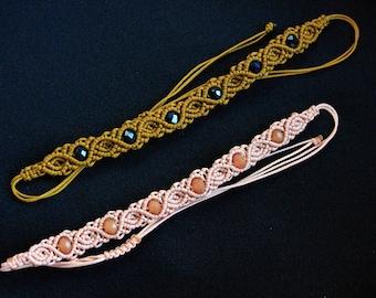 Macrame bracelet rose and beads