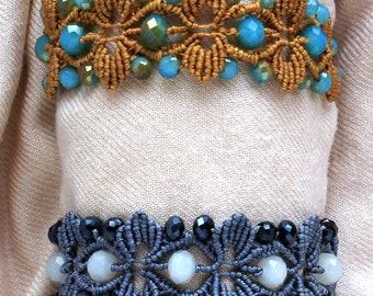 Macrame leaf bracelet with berry beads
